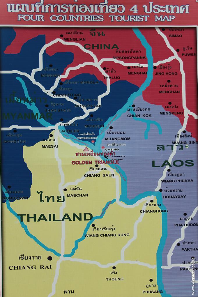 Чианг-Рай. Соп Руак. Золотой треугольник. Карта расположения
