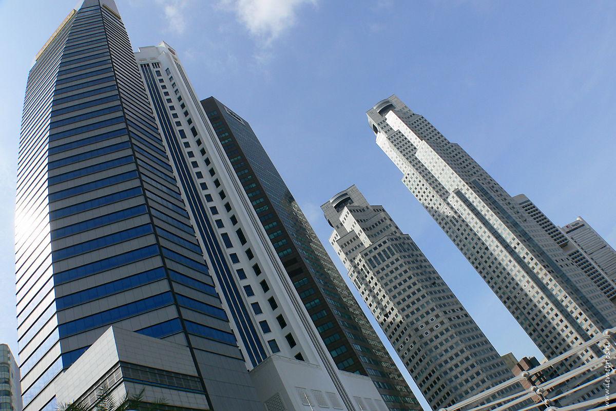 Башни Сингапура, Maybank Tower, Лодочная набережная, Singapore towers, Boat Quay
