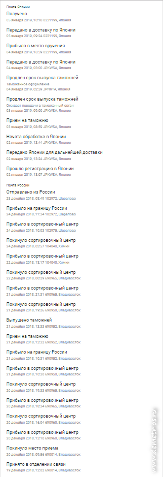 Доставка посылки из Владивостока в Японию через Москву, Почта России