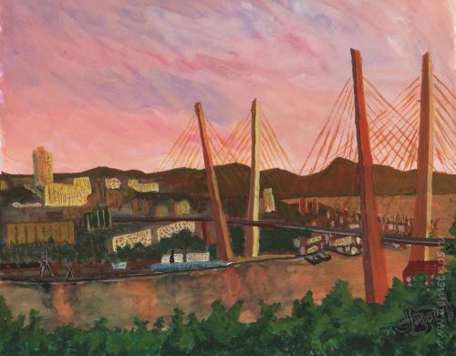 Золотой Мост Владивосток картина акварель