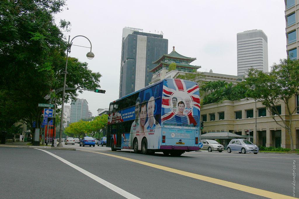 Двухэтажный автобус, двухъярусный автобус в Сингапуре, Double-decker bus in Singapore